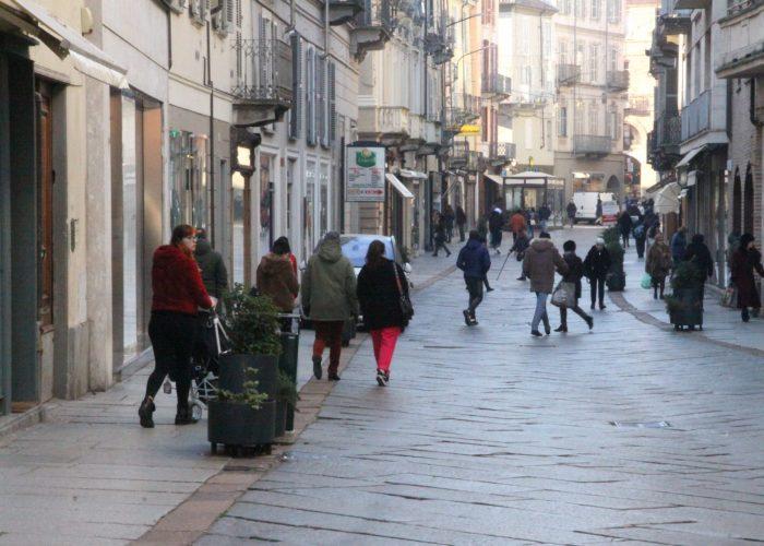 Gente in corso Alfieri in inverno