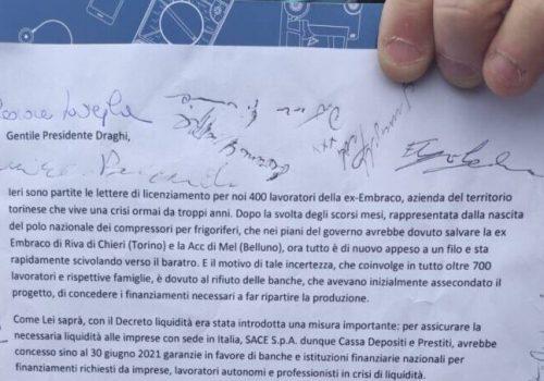 Lettera lavoratori ex Embraco a Mario Draghi